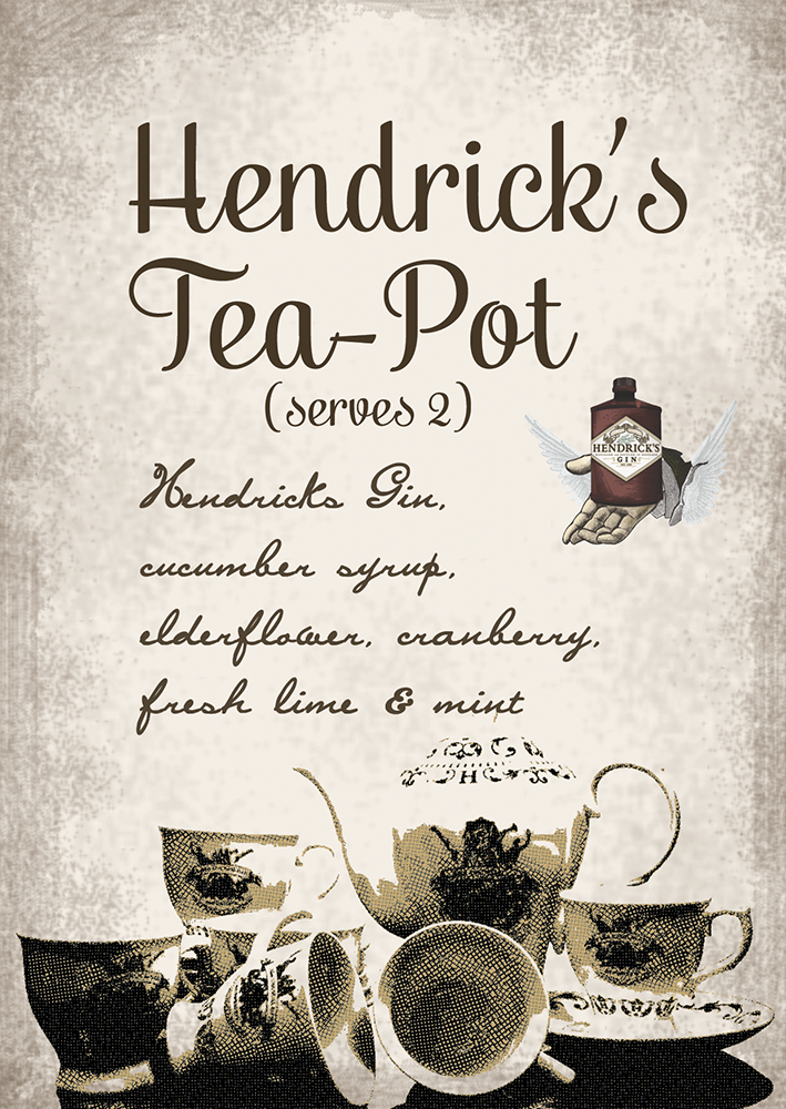 Hendricks Tea Pot Cocktail menu design